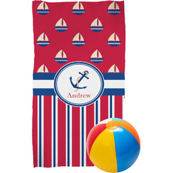 Sail Boats & Stripes Beach Towel (Personalized)