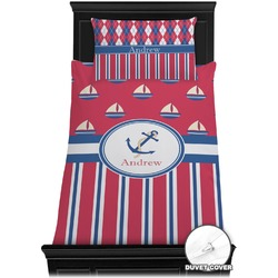 Sail Boats & Stripes Duvet Cover Set - Toddler (Personalized)
