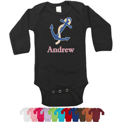 Sail Boats & Stripes Bodysuit - Black (Personalized)