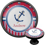 Sail Boats & Stripes Cabinet Knob (Black) (Personalized)