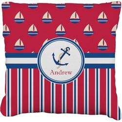 """Sail Boats & Stripes Faux-Linen Throw Pillow 26"""" (Personalized)"""