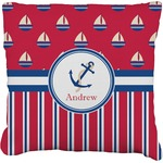 Sail Boats & Stripes Faux-Linen Throw Pillow (Personalized)