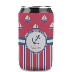 Sail Boats & Stripes Can Sleeve (12 oz) (Personalized)