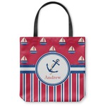 Sail Boats & Stripes Canvas Tote Bag (Personalized)