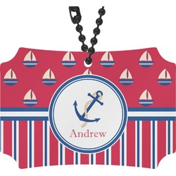 Sail Boats & Stripes Rear View Mirror Ornament (Personalized)