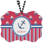 Sail Boats & Stripes Rear View Mirror Charm (Personalized)
