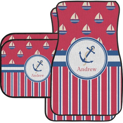 Sail Boats & Stripes Car Floor Mats Set - 2 Front & 2 Back (Personalized)
