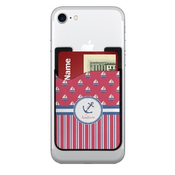 Sail Boats & Stripes 2-in-1 Cell Phone Credit Card Holder & Screen Cleaner (Personalized)