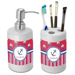 Sail Boats & Stripes Bathroom Accessories Set (Ceramic) (Personalized)