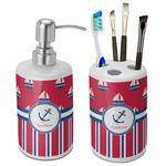 Sail Boats & Stripes Bathroom Accessories Set (Ceramic) (Personalized)
