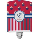 Sail Boats & Stripes Ceramic Night Light (Personalized)
