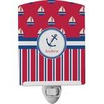 Sail Boats & Stripes Ceramic Night Light (Personalized)