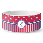 Sail Boats & Stripes Ceramic Dog Bowl (Personalized)