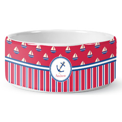 Sail Boats & Stripes Pet Bowl (Personalized)