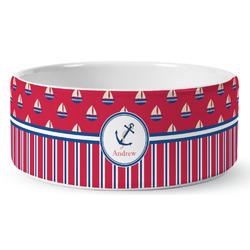 Sail Boats & Stripes Ceramic Dog Bowl (Personalized)