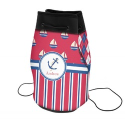 Sail Boats & Stripes Neoprene Drawstring Backpack (Personalized)