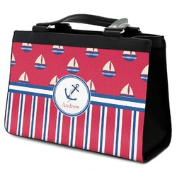Sail Boats & Stripes Classic Tote Purse w/ Leather Trim w/ Name or Text