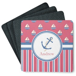 Sail Boats & Stripes 4 Square Coasters - Rubber Backed (Personalized)