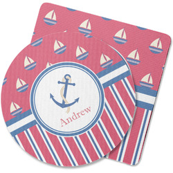 Sail Boats & Stripes Rubber Backed Coaster (Personalized)