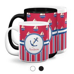 Sail Boats & Stripes Coffee Mugs (Personalized)