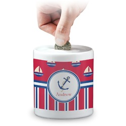 Sail Boats & Stripes Coin Bank (Personalized)