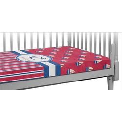 Sail Boats & Stripes Crib Fitted Sheet (Personalized)