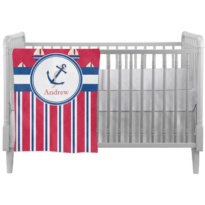 Sail Boats & Stripes Crib Comforter / Quilt (Personalized)