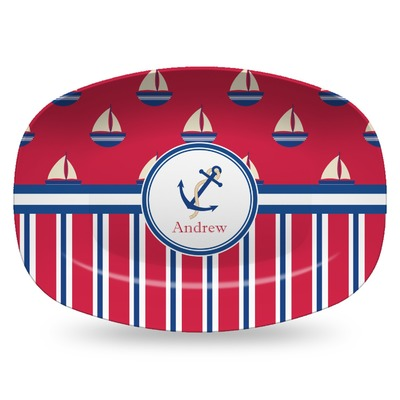 Sail Boats & Stripes Plastic Platter - Microwave & Oven Safe Composite Polymer (Personalized)