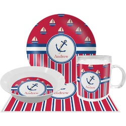 Sail Boats & Stripes Dinner Set - 4 Pc (Personalized)
