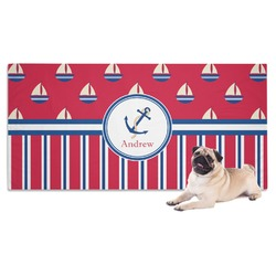 Sail Boats & Stripes Dog Towel (Personalized)