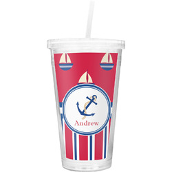 Sail Boats & Stripes Double Wall Tumbler with Straw (Personalized)