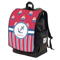 Sail Boats & Stripes Backpack w/ Front Flap  (Personalized)