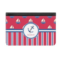 Sail Boats & Stripes Genuine Leather ID & Card Wallet - Slim Style (Personalized)