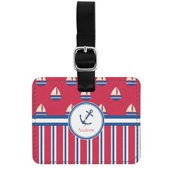 Sail Boats & Stripes Genuine Leather Rectangular  Luggage Tag (Personalized)