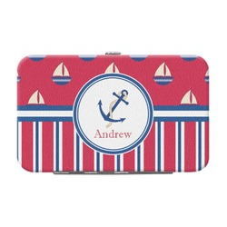 Sail Boats & Stripes Genuine Leather Small Framed Wallet (Personalized)