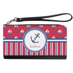 Sail Boats & Stripes Genuine Leather Smartphone Wrist Wallet (Personalized)