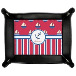 Sail Boats & Stripes Genuine Leather Valet Tray (Personalized)