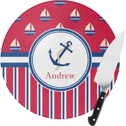 Sail Boats & Stripes Round Glass Cutting Board (Personalized)