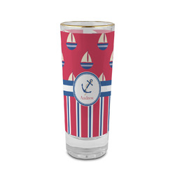 Sail Boats & Stripes 2 oz Shot Glass - Glass with Gold Rim (Personalized)
