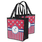 Sail Boats & Stripes Grocery Bag (Personalized)