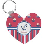 Sail Boats & Stripes Heart Keychain (Personalized)