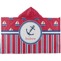 Sail Boats & Stripes Kids Hooded Towel (Personalized)