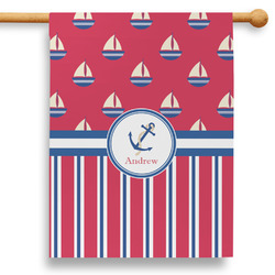 """Sail Boats & Stripes 28"""" House Flag (Personalized)"""
