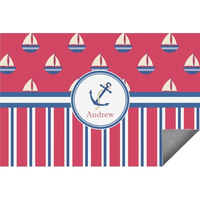 Sail Boats & Stripes Indoor / Outdoor Rug (Personalized)