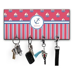Sail Boats & Stripes Key Hanger w/ 4 Hooks (Personalized)
