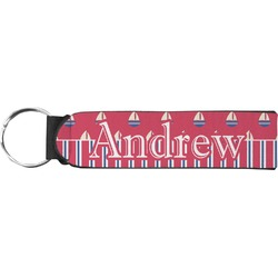 Sail Boats & Stripes Neoprene Keychain Fob (Personalized)