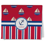 Sail Boats & Stripes Kitchen Towel - Full Print (Personalized)
