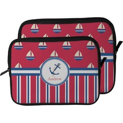 Sail Boats & Stripes Laptop Sleeve / Case (Personalized)