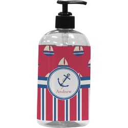 Sail Boats & Stripes Plastic Soap / Lotion Dispenser (Personalized)