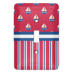 Sail Boats & Stripes Light Switch Covers - Multiple Toggle Options Available (Personalized)
